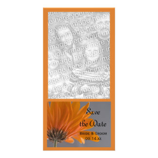 Orange Daisy on Gray Wedding Save the Date Card