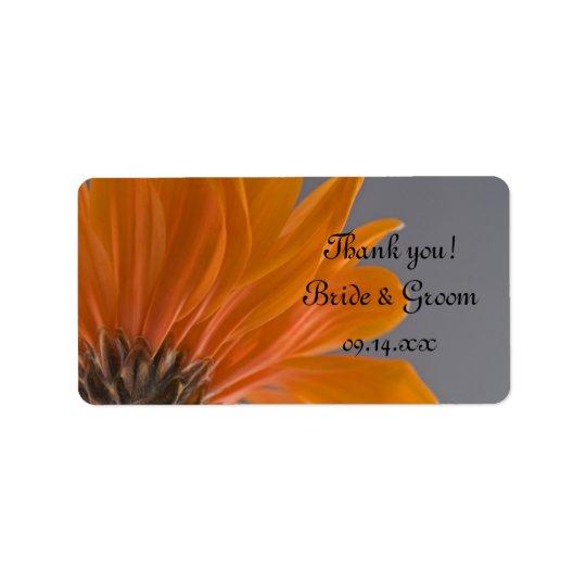 Orange Daisy on Grey Wedding Thank You Favour Tags