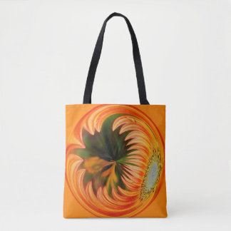 Orange Daisy Orb Tote Bag