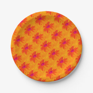 Orange Daisy Paper Plate