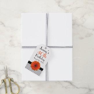 Orange Daisy Polka Dot Birthday Pack Of Gift Tags