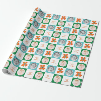Orange Daisy Pop Flower Birthday Photo Gift Wrap
