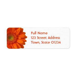 Orange Daisy Return Address Mailing Label