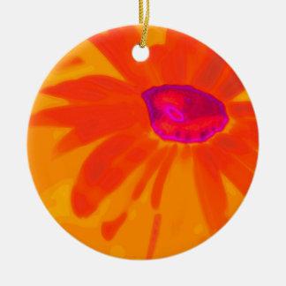 Orange Daisy Round Ceramic Ornament