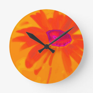 Orange Daisy Round Clock
