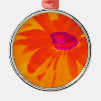 Orange Daisy Silver-Colored Round Ornament