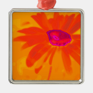 Orange Daisy Silver-Colored Square Ornament