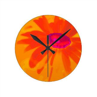Orange Daisy Wallclock