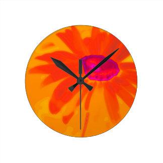 Orange Daisy Wallclocks