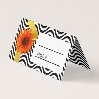 Orange Daisy With Black Chevron Wedding Place Card