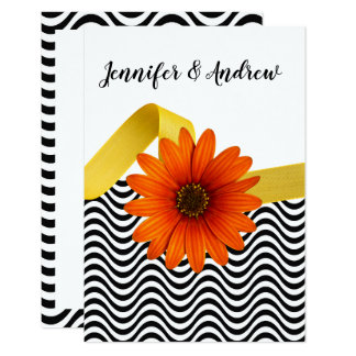 Orange Daisy With Black Chevron Wedding RSVP Card