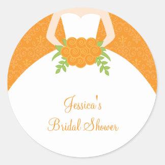 Orange Damask Bride Stickers