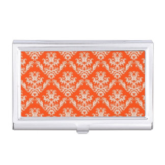 Orange Damask Business Card Holder