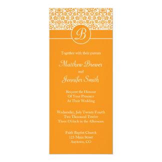 Orange Damask Custom Wedding Invitation w/ Initial
