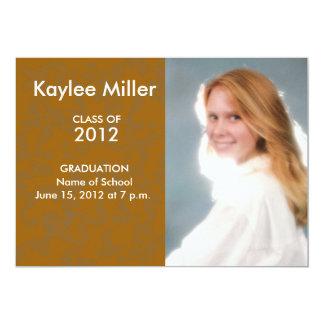 "Orange Damask Formal 2012 Graduation Picture 5"" X 7"" Invitation Card"