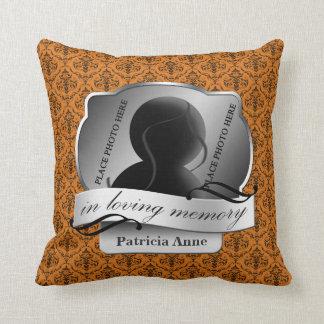 """Orange Damask """"In Loving Memory"""" In Memoriam Pillows"""