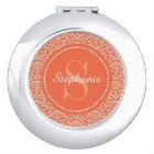 Orange Damask Monogram Personalized Compact Mirror