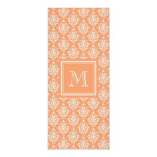 "Orange Damask Pattern 1 with Monogram 4"" X 9.25"" Invitation Card"