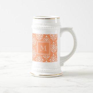 Orange Damask Pattern 1 with Monogram Beer Steins