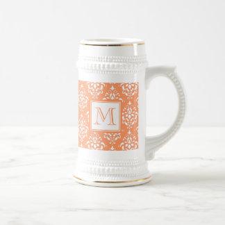 Orange Damask Pattern 1 with Monogram 18 Oz Beer Stein