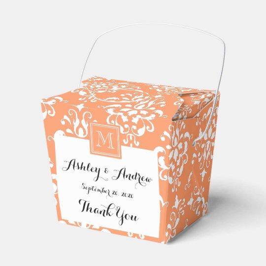 Orange Damask Pattern 1 with Monogram Wedding Favor Box