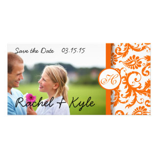 Orange Damask Swirls  Save the Date Photo Card