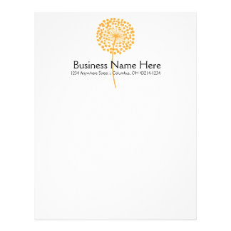 Orange Dandelion Flower Letterhead Design