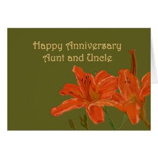 Orange Day Lilies Anniversary Card