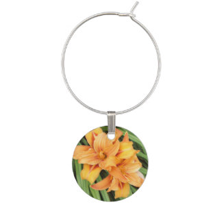 Orange Daylilies Floral Nature Wine Charm
