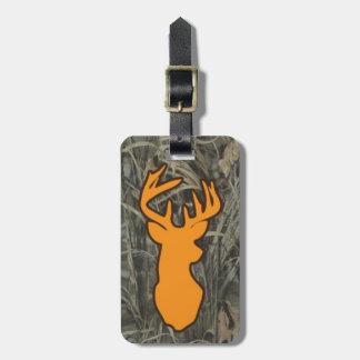 Orange Deer Head Camo Luggage Tag