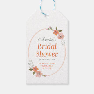 Orange Delicate Floral Bridal Shower Pack Of Gift Tags