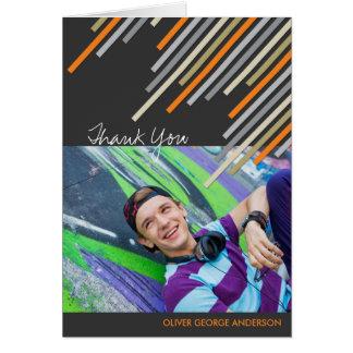 Orange Diagonal Stripes Graduation Thank You Card