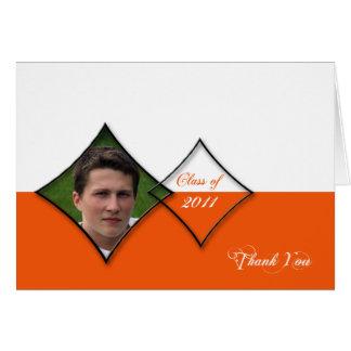 Orange Diamond Class Graduation Thank You card