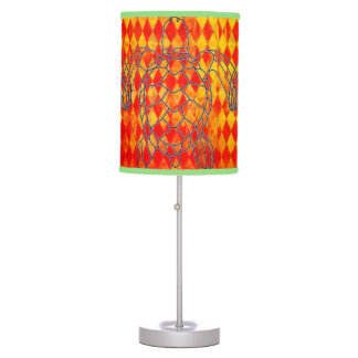 Orange Diamond Stained Glass Turtle Table Lamp