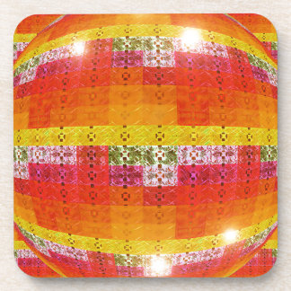 Orange Disco Ball Pattern Coaster