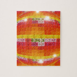 Orange Disco Ball Pattern Jigsaw Puzzle