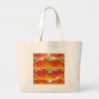 Orange Disco Ball Pattern Large Tote Bag