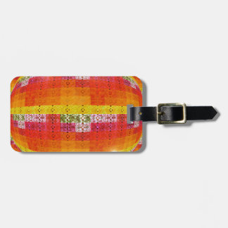 Orange Disco Ball Pattern Luggage Tag