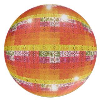 Orange Disco Ball Pattern Plate
