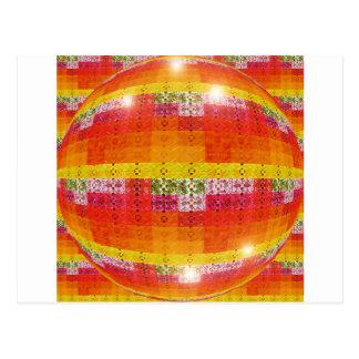 Orange Disco Ball Pattern Postcard