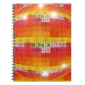 Orange Disco Ball Pattern Spiral Notebook