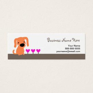 Orange Dog & Hearts Mini Business Card