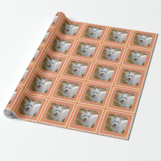 Orange Dog Party Terrier Photo Wrapping Paper