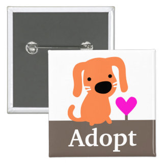Orange Dog Pet Adoption 2 Inch Square Button