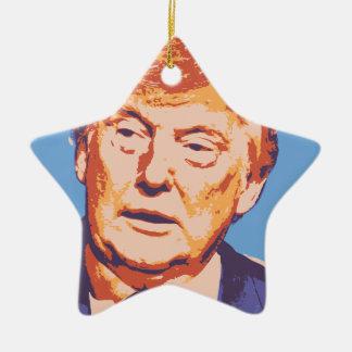 orange donald trump ceramic star ornament