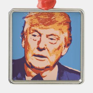 orange donald trump Silver-Colored square ornament