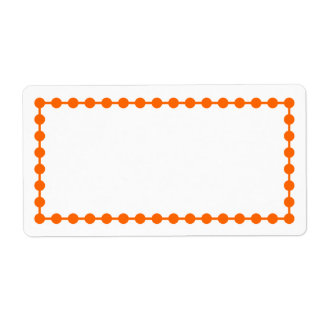 Orange Dot Frame Border Label Shipping Label