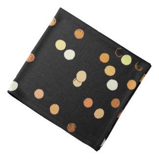 Orange dots circles, ovals on black pattern bandana