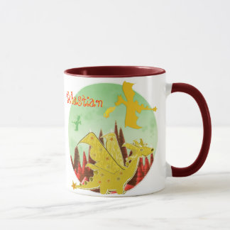 Orange Dragon Mug customizable Name Sebastian