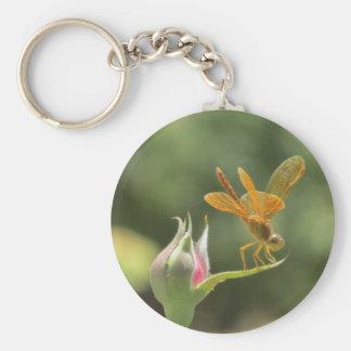Orange Dragonfly on Pink Rosebud Keychain
